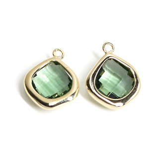 【2個入り】Green Opalカラーガラス15mmマロン形ゴールドチャーム
