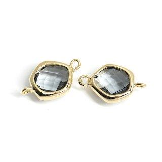【2個入り】プチ歪み形Black Diamondカラーガラスのゴールドコネクター、チャーム