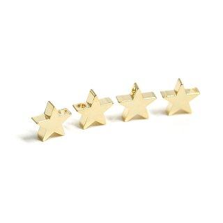 【4個入り】貫通!約8mm STAR星モチーフ光沢ゴールドチャーム、パーツ