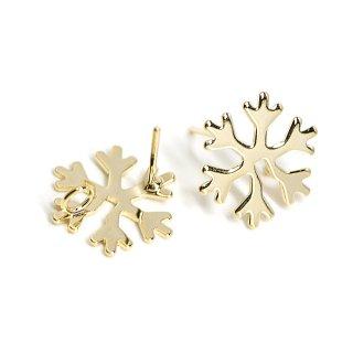 【1ペア】Snow Flake雪の結晶モチーフ光沢ゴールドカン付きピアス、パーツ