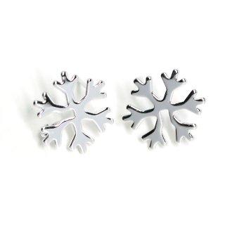 【1ペア】Snow Flake雪の結晶モチーフ光沢シルバーカン付きピアス、パーツ