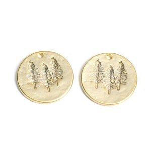 【1個】コイン状に刻まれたTreeモチーフのマットゴールドペンダント、チャーム
