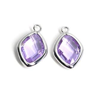 【2個入り】Light Amethystカラーガラス16mmダイヤモンド形シルバーチャーム