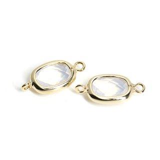 【2個入り】両カン!プチスクエア形White Opalカラーガラス12mmゴールドコネクター