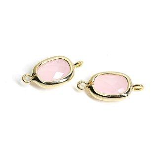 【2個入り】両カン!プチスクエア形Rose Pinkカラーガラス12mmゴールドコネクター