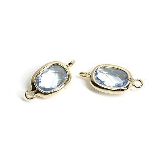 【2個入り】両カン!プチスクエア形Light Sapphireカラーガラス12mmゴールドコネクター