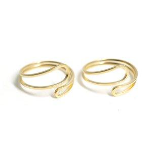 【1個】Circular Twist マットゴールドフリーリング、指輪