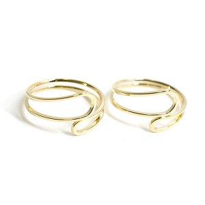 【1個】Circular Twist 光沢ゴールドフリーリング、指輪