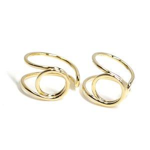 【1個】存在感ある円形モチーフのゴールドフリーリング、指輪