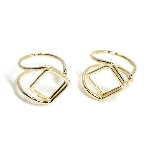 【1個】存在感ある四角形モチーフのゴールドフリーリング、指輪
