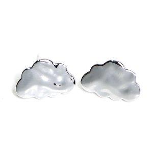 【1ペア】925刻印芯!キュートなCloud雲モチーフの3つのカン付き光沢シルバーピアス、パーツ