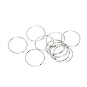 【10個入り】約15mm / 約1mm サークル, 円形シルバーフレーム、チャーム