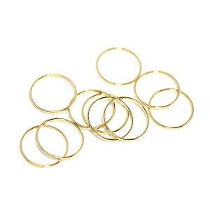 【10個入り】約15mm / 約1mm サークル, 円形ゴールドフレーム、チャーム