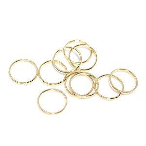 【10個入り】約10mm / 約0.6mm サークル, 円形ゴールドフレーム、チャーム