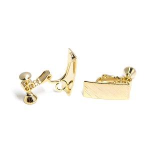 【1ペア】質感ある約7*16mm長方形光沢ゴールドカン&ネジバネイヤリングパーツ