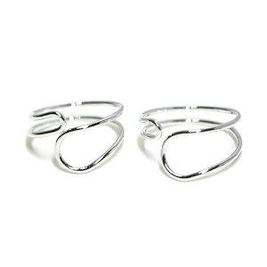 【1個】Crossing Circle光沢シルバーフリーリング、指輪