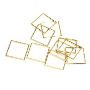 【10個入り】約15mm / 約0.6mm 正方形,スクエアゴールドフレーム、チャーム