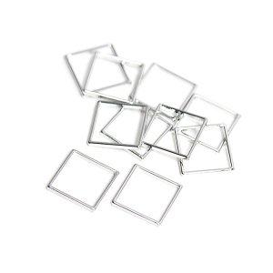 【10個入り】約10mm / 約0.6mm 正方形,スクエアシルバーフレーム、チャーム