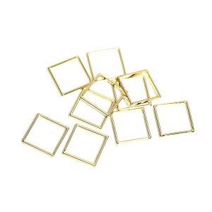 【10個入り】約10mm / 約0.6mm 正方形,スクエアゴールドフレーム、チャーム
