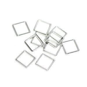 【10個入り】約8mm / 約0.6mm 正方形,スクエアシルバーフレーム、チャーム