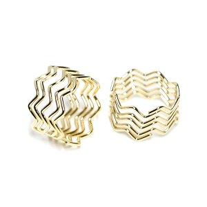 【1個】伸びるデザイン!重なった曲線のゴールドリング、チャームのパーツ