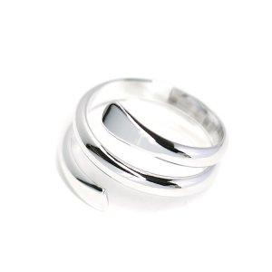【1個】包むような二連ツイスト光沢シルバーフリーリング、指輪