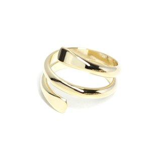 【1個】包むような二連ツイスト光沢ゴールドフリーリング、指輪