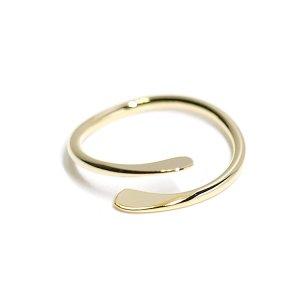 【1個】華奢なシンプルツイスト光沢ゴールドフリーリング、指輪