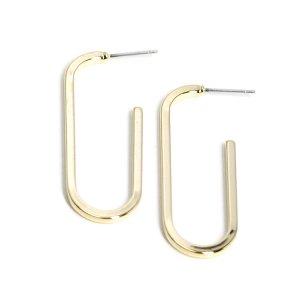【1ペア】チタン芯!約41mm長方形光沢ゴールドピアス、パーツ