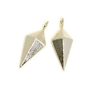 【2個入り】立体的でスリムなLong Diamond 質感ある光沢ゴールドチャーム、パーツ