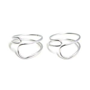 【1個】Crossing Circleマットシルバーフリーリング、指輪