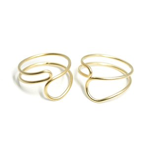 【1個】Crossing Circleマットゴールドフリーリング、指輪