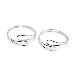 【1個】華奢なOpen Dropツイスト光沢シルバーフリーリング、指輪