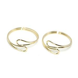 【1個】華奢なOpen Dropツイスト光沢ゴールドフリーリング、指輪