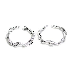 【1個】曲線の絡み合いの光沢シルバーフリーリング、指輪 NF