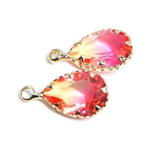 【1個】イエロー&ピンクの2色ガラスしずく形ゴールドチャーム
