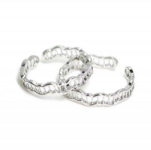【1個】曲線網状の繊細なフリーサイズシルバーリング、指輪