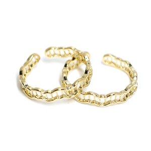【1個】曲線網状の繊細なフリーサイズゴールドリング、指輪