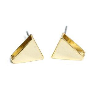 【1ペア】チタン芯!シンプルな約10mm三角形ゴールドピアス、パーツ