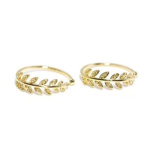 【1個】繊細なOLive Leafモチーフゴールドフリーサイズリング、指輪
