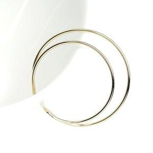 【1個】華奢な大ぶり約30mmDouble Circle ゴールドイヤーカフ、軟骨ピアス
