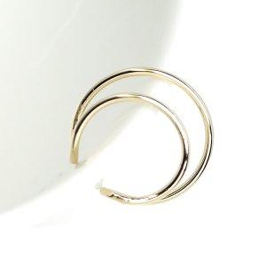 【1個】華奢な約16mmのDouble Circle ゴールドイヤーカフ、軟骨ピアス