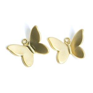 【2個入り】蝶が舞う!立体的な蝶モチーフのマットゴールドチャームパーツ、パーツ
