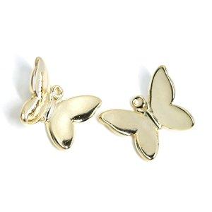【2個入り】蝶が舞う!立体的な蝶モチーフの光沢ゴールドチャームパーツ、パーツ