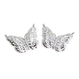 【2個入り】両カン!繊細でエレガントな蝶モチーフの光沢シルバーコネクター 、チャーム