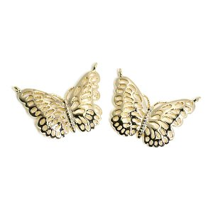 【2個入り】両カン!繊細でエレガントな蝶モチーフの光沢ゴールドコネクター 、チャーム