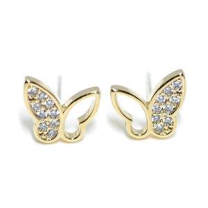 【1ペア】左右&SV925芯!輝きCZの蝶モチーフゴールドピアス、パーツ