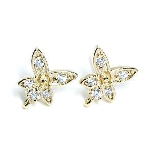 【1ペア】カン&SV925芯!豪華に輝くCZの蝶モチーフゴールドピアス、パーツ