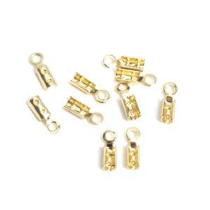 【10個入り】ニッケルフリーカシメ 2.3*8mm真鍮製ゴールド留め金具,エンドパーツ