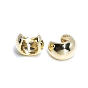 【1個】ふっくらみあるキュートな円形ゴールドイヤーカフ、軟骨ピアス